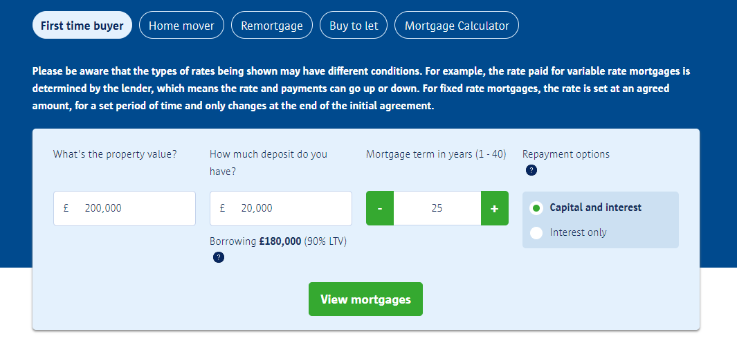 First time home buyer mortgage comparison quote details