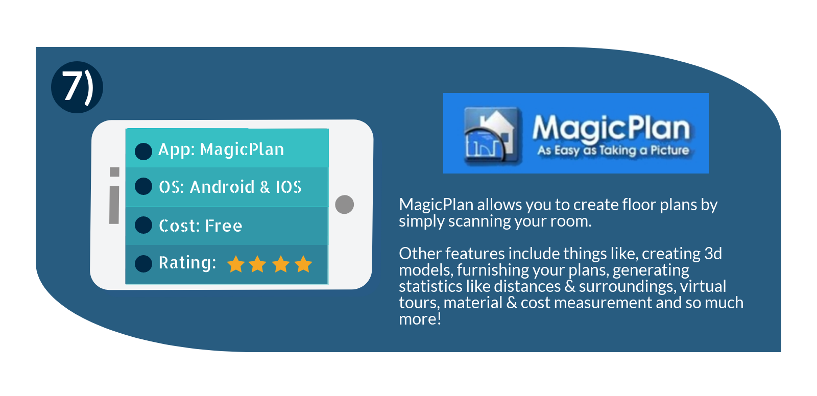 Magic plan is a great app that allows you to create floor plans