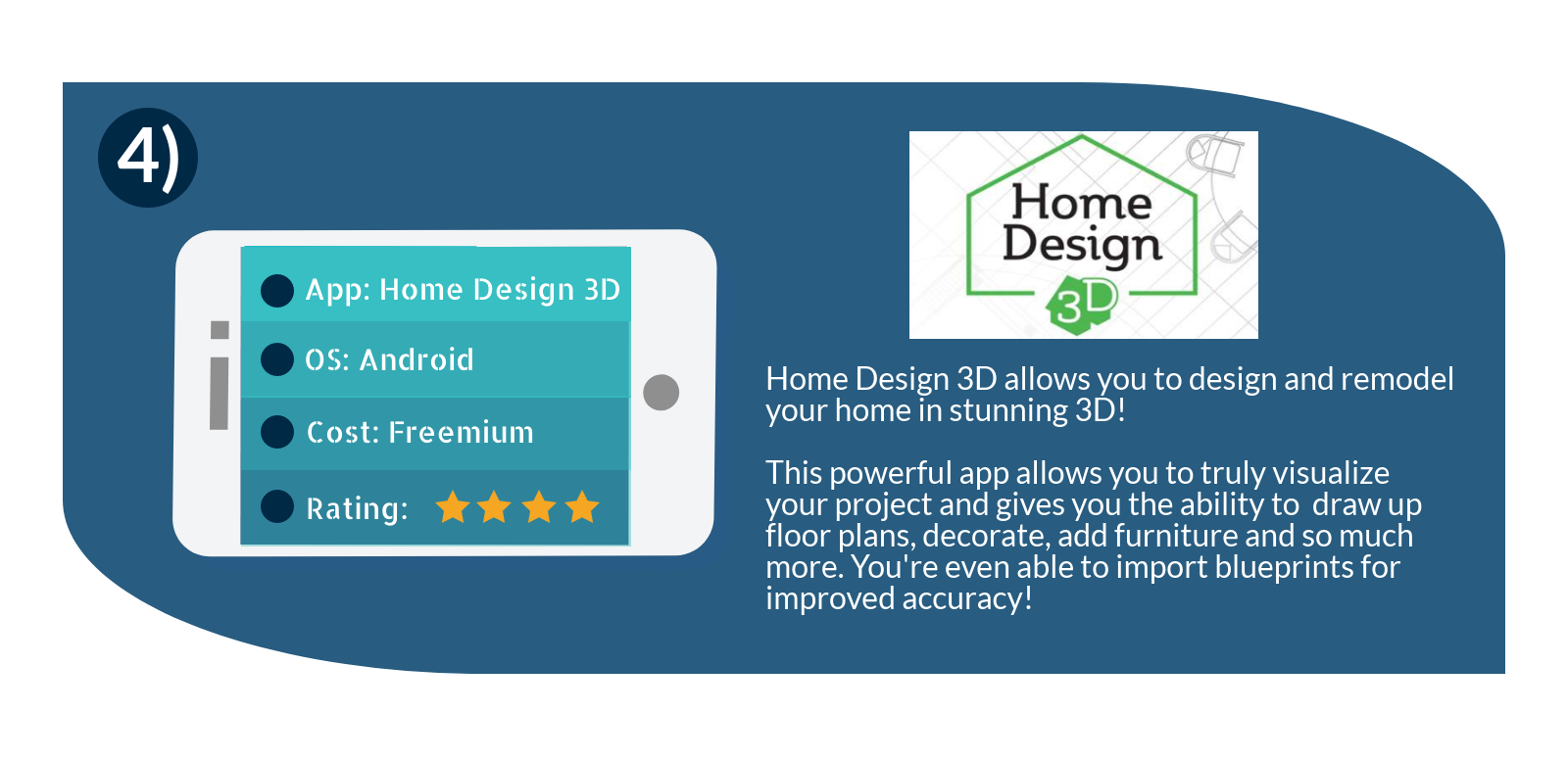 The home design 3d app allows you to remodel your home in 3D