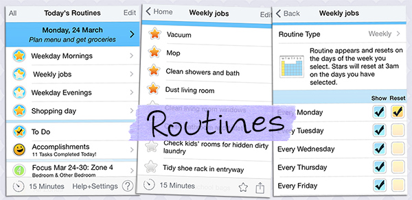 Home routines in app screenshot