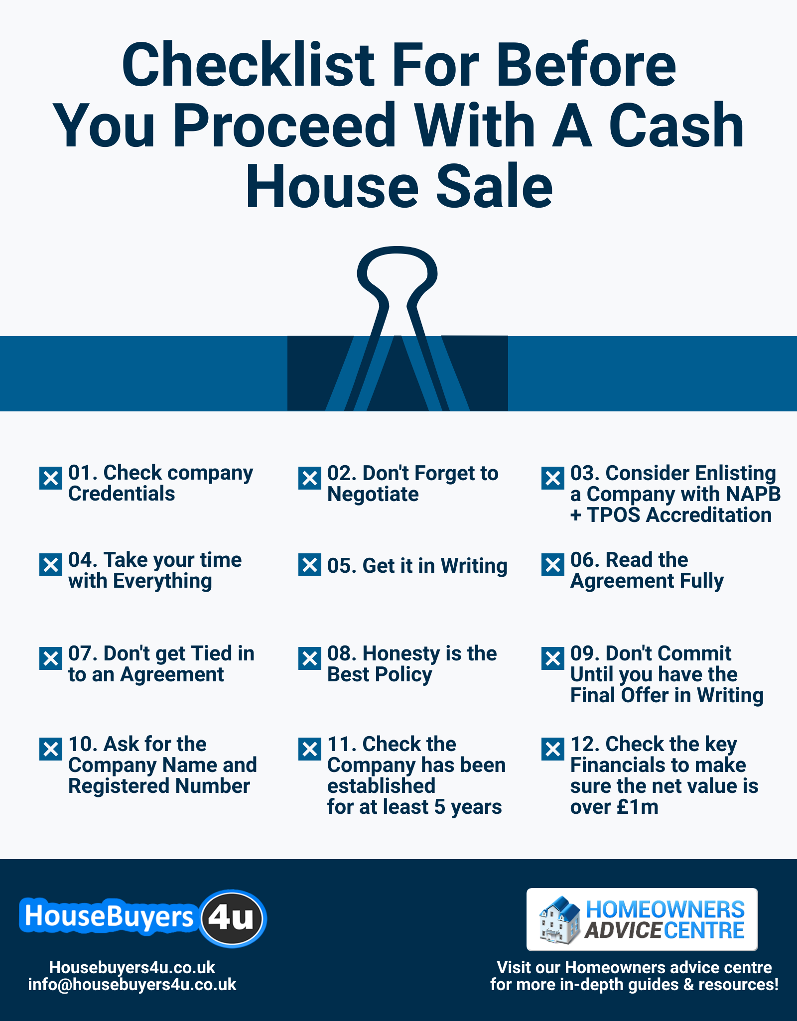Checklist for before you proceed with a cash house sale