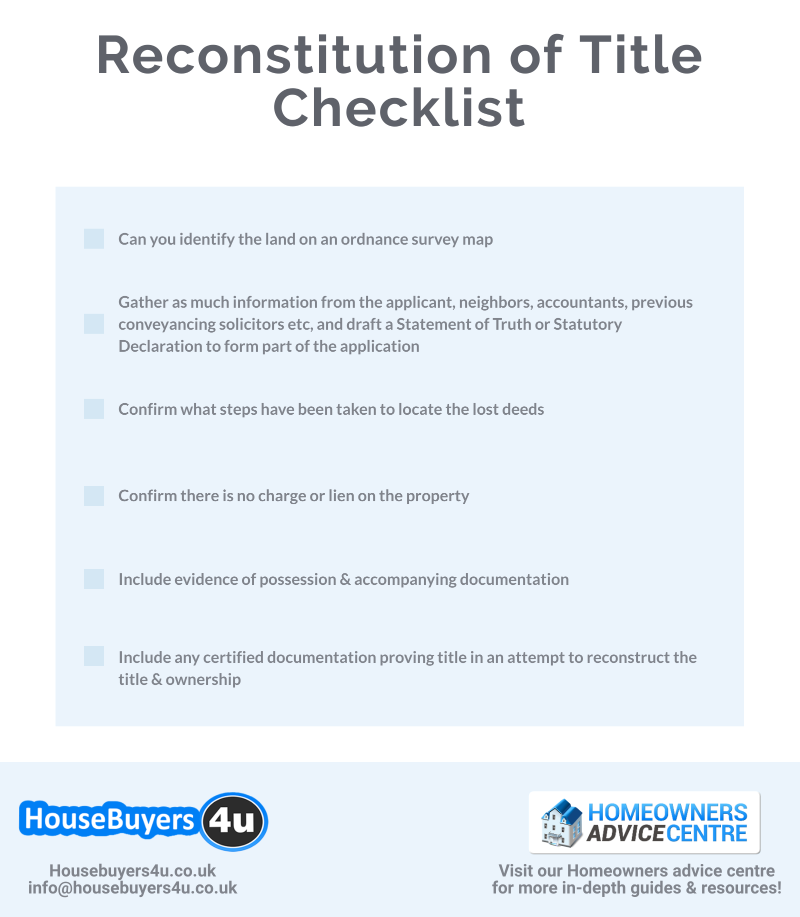 Reconstitution of Title Checklist